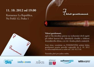 Pozvánka na pokerový večer Klubu gentlemanů